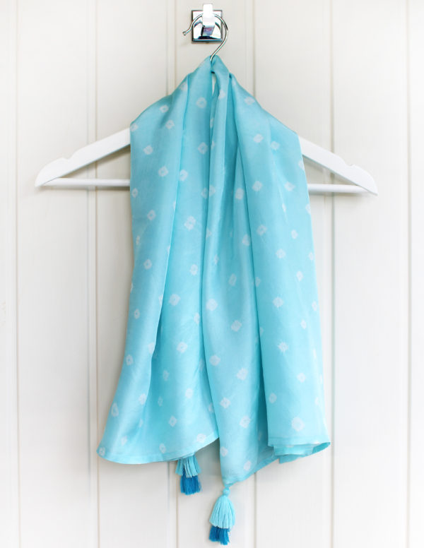 Aquamarine Luxury Silk Hand Tie Dyed Scarf