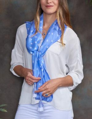 Cornflower Blue Luxury Silk Hand Tie Dyed Scarf