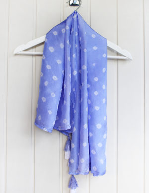 Cornflower Blue Luxury Silk Hand Tie Dyed Scarf