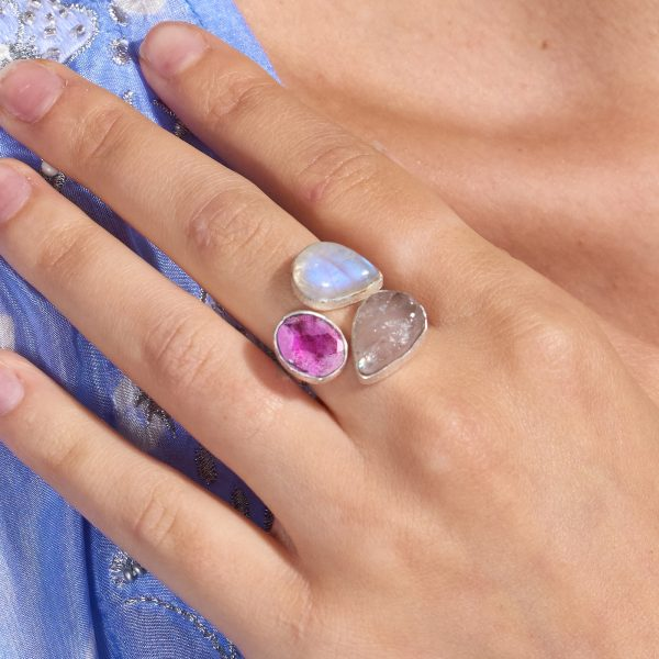 Ruby, Moonstone And Rose Quartz Gemstone Adjustable Sterling Silver Ring