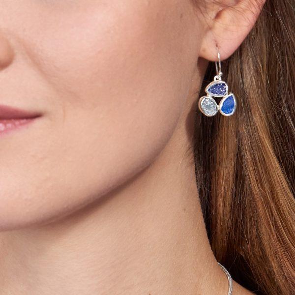 Tanzanite, Moonstone & Lapis Lazuli Gemstone Sterling Silver Ladies Petal Earrings
