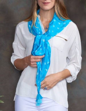 Turquoise Luxury Silk Hand Tie Dyed Scarf