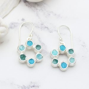 Amazonite, Apatite & Turquoise Gemstone Handmade Silver Earrings