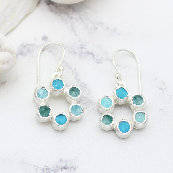 Amazonite, Apatite & Turquoise Gemstone Handmade Silver Earrings