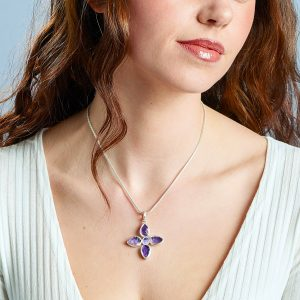 Handmade Amethyst & Tanzanite Gemstone Flower Ladies Pendant