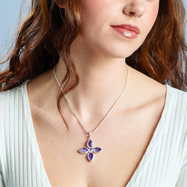Handmade Amethyst & Tanzanite Gemstone Flower Ladies Pendant