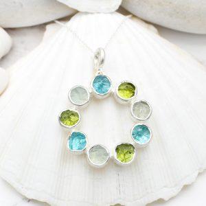 Aquamarine, Apatite & Peridot Gemstone Sterling Silver Pendant