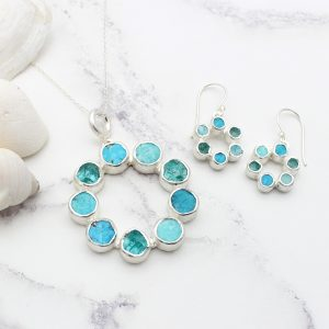 Circle of Stones Amazonite, Apatite & Turquoise Pendant and Earrings Set