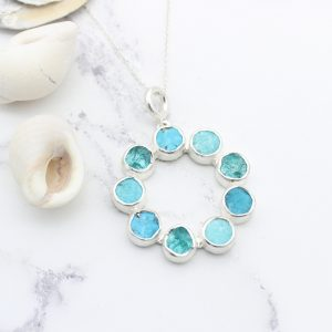 Amazonite, Apatite & Turquoise Gemstone Sterling Silver Pendant