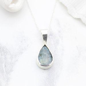 Aquamarine Natural Gemstone Handmade Ladies Silver Pendant