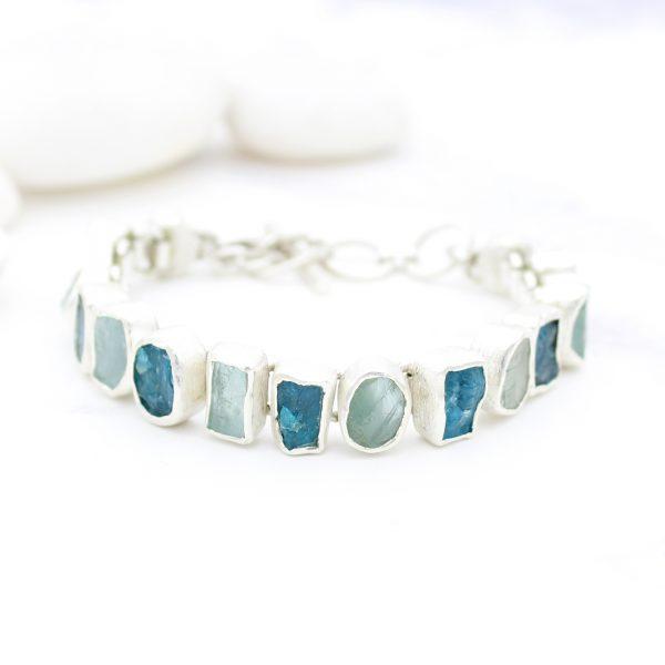 Aquamarine & Apatite Gemstone Handmade Sterling Silver Bracelet
