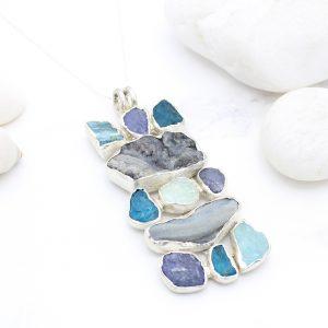 Aquamarine, Apatite, Tanzanite & Drusy Gemstone Statement Pendant Necklace