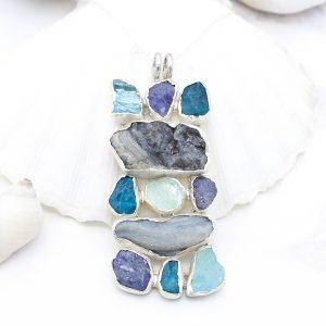 Aquamarine, Apatite, Tanzanite & Drusy Gemstone Statement Pendant Necklace