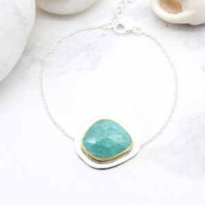 Amazonite Gemstone Sterling Silver Bracelet