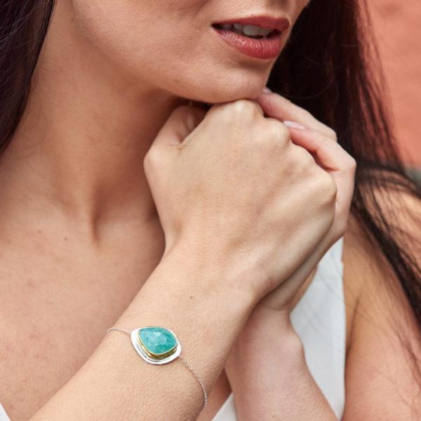 Amazonite Gemstone Sterling Silver Bracelet