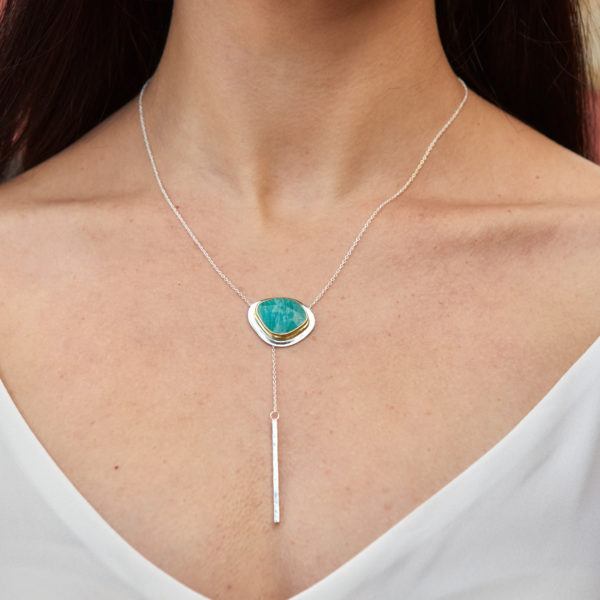 Amazonite Gemstone Sterling Silver Lariat Necklace