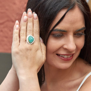 Amazonite Gemstone Adjustable Statement Sterling Silver Ring
