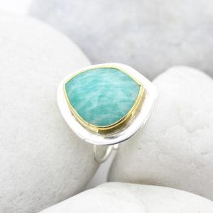 Amazonite Gemstone Adjustable Sterling Silver Ring