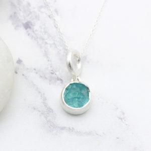 Apatite Gemstone Handmade Ladies Silver Small Pendant