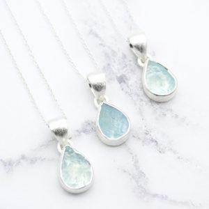 Aquamarine Gemstone Handmade Ladies Silver Pendants
