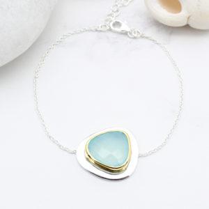Aqua Chalcedony Gemstone Sterling Silver Bracelet
