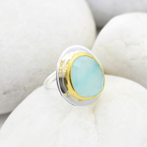Aqua Chalcedony Gemstone Adjustable Sterling Silver Ring