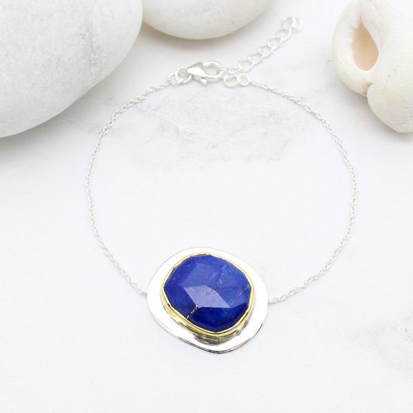 Lapis Lazuli Gemstone Sterling Silver Bracelet
