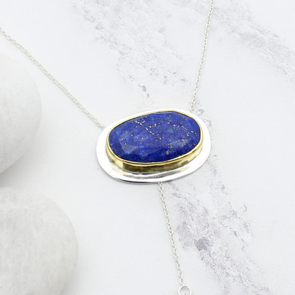Lapis Lazuli Gemstone Sterling Silver Lariat Necklace