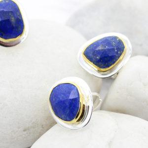 Lapis Lazuli Adjustable Sterling Silver Ring