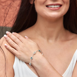 Aquamarine & Apatite Gemstone Sterling Silver Handmade Bracelet