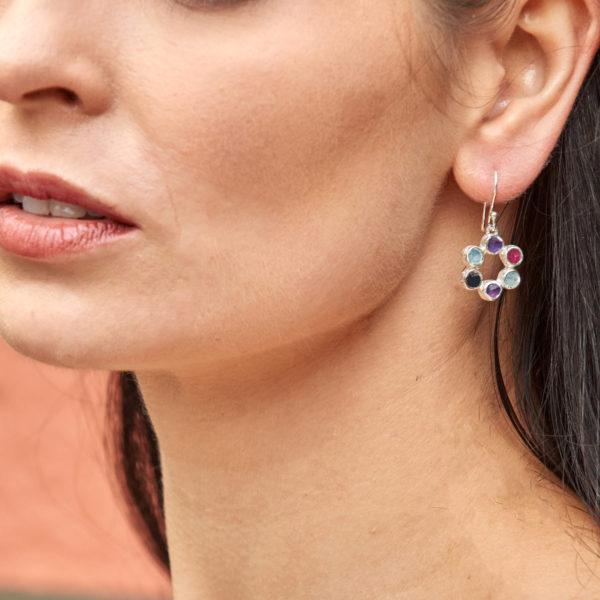 Amethyst, Moonstone & Ruby Gemstone Handmade Silver Earrings