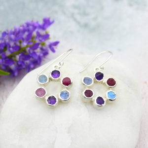 Amethyst, Moonstone & Ruby Gemstone Handmade Silver Earrings