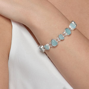 Aquamarine Gemstone Handmade Sterling Silver Ladies Bracelet