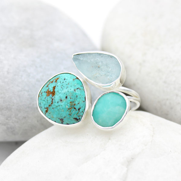 Aquamarine, Amazonite & Turquoise Gemstone Adjustable Sterling Silver Ring
