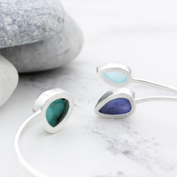 Tanzanite, Turquoise & Aqua Chalcedony Gemstone Sterling Silver Ring