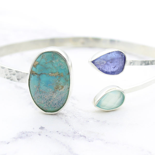 Tanzanite, Turquoise & Aqua Chalcedony Gemstone Sterling Silver Bangle