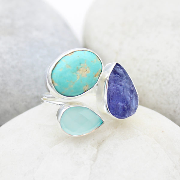 Tanzanite, Turquoise & Aqua Chalcedony Gemstone Sterling Silver Ring