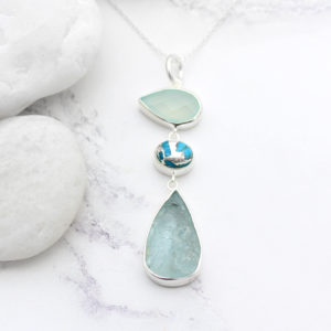 Aquamarine, Chalcedony & Turquoise Gemstone Sterling Silver Pendant