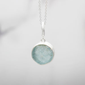 Aquamarine Gemstone Handmade Ladies Silver Pendant