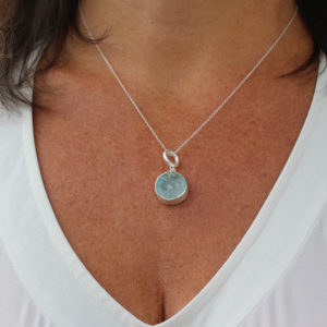 Aquamarine Gemstone Handmade Ladies Silver Pendant