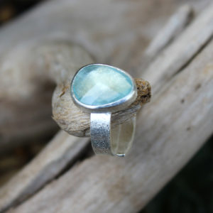 Aquamarine Gemstone Adjustable Sterling Silver Ring