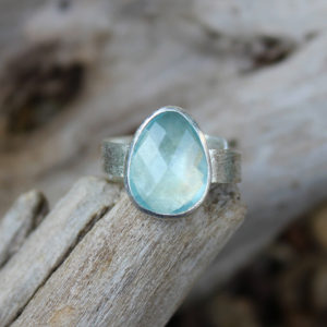 Aquamarine Gemstone Adjustable Sterling Silver Ring