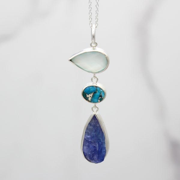 Tanzanite, Chalcedony & Turquoise Gemstone Sterling Silver Pendant