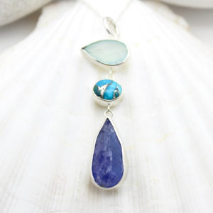 Tanzanite, Chalcedony & Turquoise Gemstone Sterling Silver Pendant