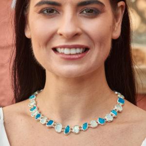 Aquamarine & Neon Apatite Gemstone Necklace & Bracelet Set - Made to Order