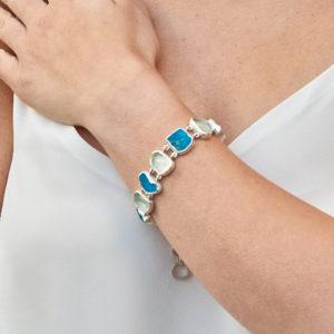 Aquamarine & Neon Apatite Gemstone Bracelet
