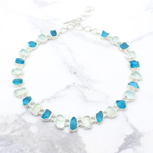 Aquamarine & Neon Apatite Gemstone Necklace & Bracelet Set