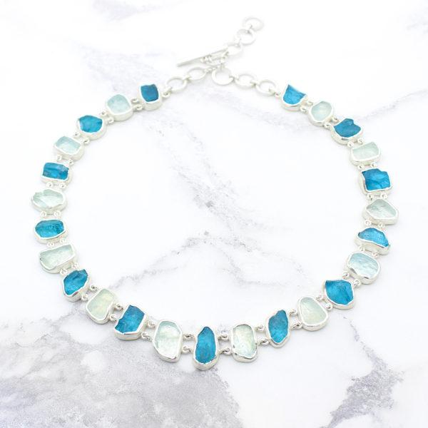 Aquamarine & Neon Apatite Gemstone Necklace & Bracelet Set