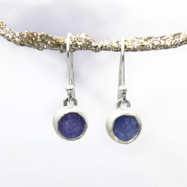 Tanzanite Gemstone Sterling Silver Small Earrings
