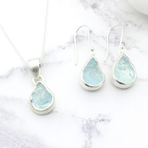 Aquamarine Gemstone Silver Pendant and Earrings Set